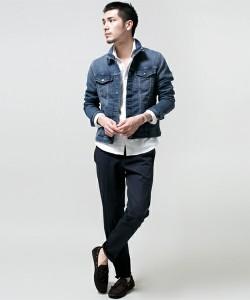 Gジャン×シャツ×黒の細身パンツ