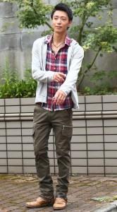 パーカー×チェックシャツ
