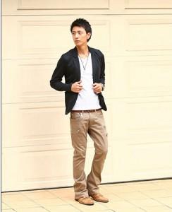 白Tシャツ×ジャケット