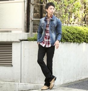 ジージャン×チェックシャツ メンズ