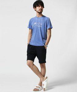ブルーのTシャツ×ハーフパンツ