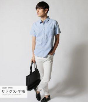 フレンチリネンシャツ×レザートートバッグ
