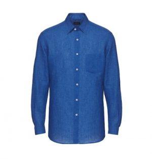 ネイビーのリネンシャツ ブランド