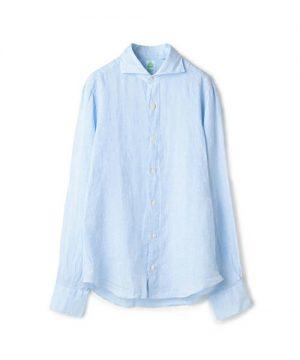 サックスブルーのシャツ メンズファッション