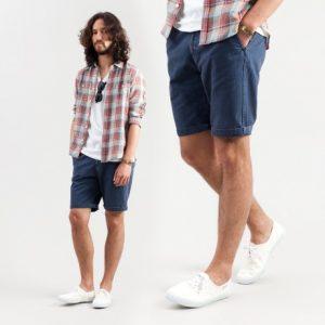 チェックシャツ×ハーフパンツ