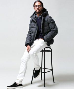 白パンツ 冬のメンズファッション