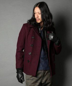 ワインレッドのPコート メンズファッション