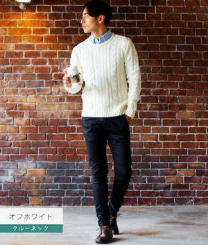 白のケーブル編みニット×黒のスキニーパンツ