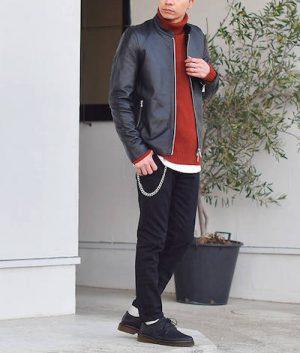 黒のライダースジャケット 冬コーデ