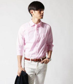 ピンクのブロードシャツ メンズファッション
