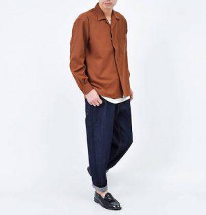 オープンカラーシャツ ブラウン