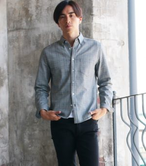グレンチェックのシャツ メンズファッション