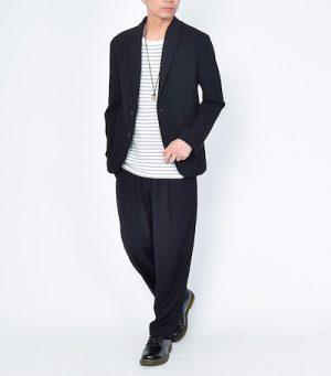 テーラードジャケット×ボーダーTシャツ