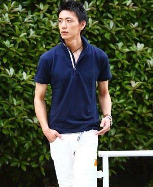 ネイビーのポロシャツ 30代