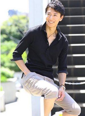 黒の七分袖のポロシャツ ブランド