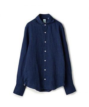 ネイビーのリネンシャツ メンズファッション