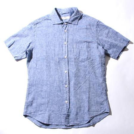 サックスのリネンシャツ メンズ
