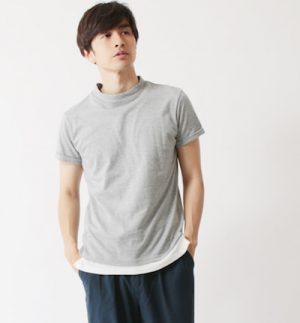 モックネックTシャツ メンズファッション