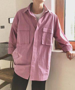 ピンクのビッグシルエットミリタリーシャツ